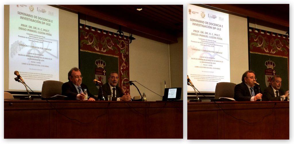 El Prof. Dr. Dr. h.c. mult. Luzón Peña durante su conferencia, moderada por el Prof. Dr. Díaz y García Conlledo.