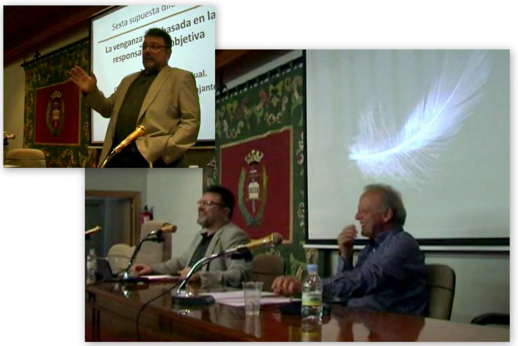 El Prof. Dr. Bonorino Ramírez (arriba) durante su ponencia, moderada por el Prof. Dr. García Amado (abajo, dcha).