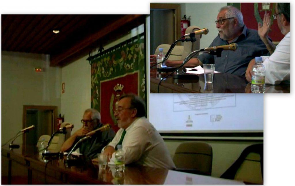 El Prof. Dr. Dr. h.c. mult. Muñoz Conde (arriba) durante su ponencia, moderada por el Prof. Dr. Dr. h.c. mult. Luzón Peña (abajo, dcha).