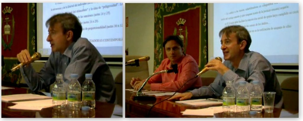 El Prof. Dr. Pérez Bermejo (foto izq.) durante su ponencia.
