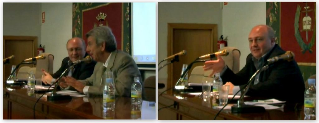 El Prof. Dr. Paredes Castañón (foto dcha.) presenta su ponencia, moderada por el Prof. Dr. de Vicente Remesal.
