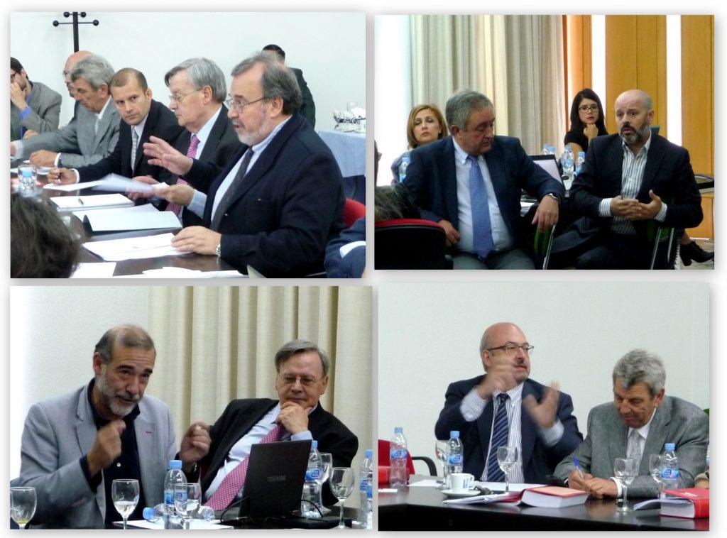 Algunos momentos del debate tras cada una de las ponencias, con intervenciones, entre otros, de los Profs. Dres. Luzón Peña, Dopico Gómez-Aller, Díaz y García Conlledo y Peñaranda Ramos.