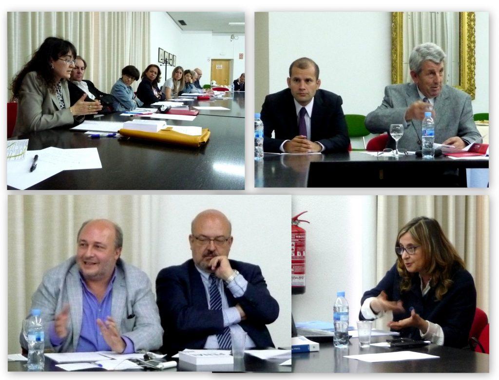 Algunos momentos del debate tras cada una de las ponencias, con intervencines, entre otros, de los Profs. Dres. Rueda Martín y Paredes Castañón.