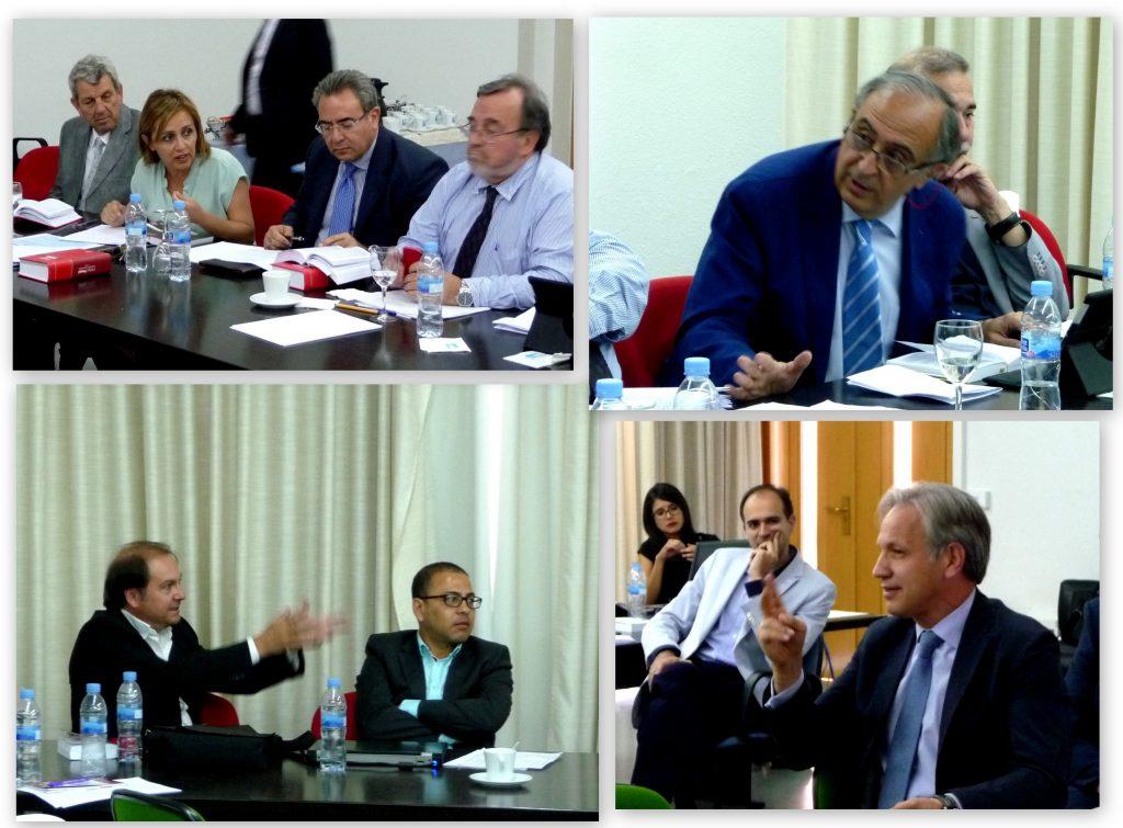 Algunos momentos del debate tras cada una de las ponencias, con intervenciones, entre otros, de los Profs. Dres. Morillas Cueva, Portilla Contreras y del Dr. Pavía Cardell.