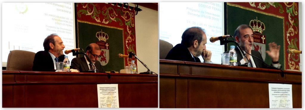 Presentación de los Coloquios por el Prof. Dr. José Carlos Pena Álvarez (izq.), Delegado del Rector para la Agencia de Calidad y Formación de la Univ. de León, y Conferencia inaugural del Prof. Dr. Díaz y García Conlledo (dcha.).