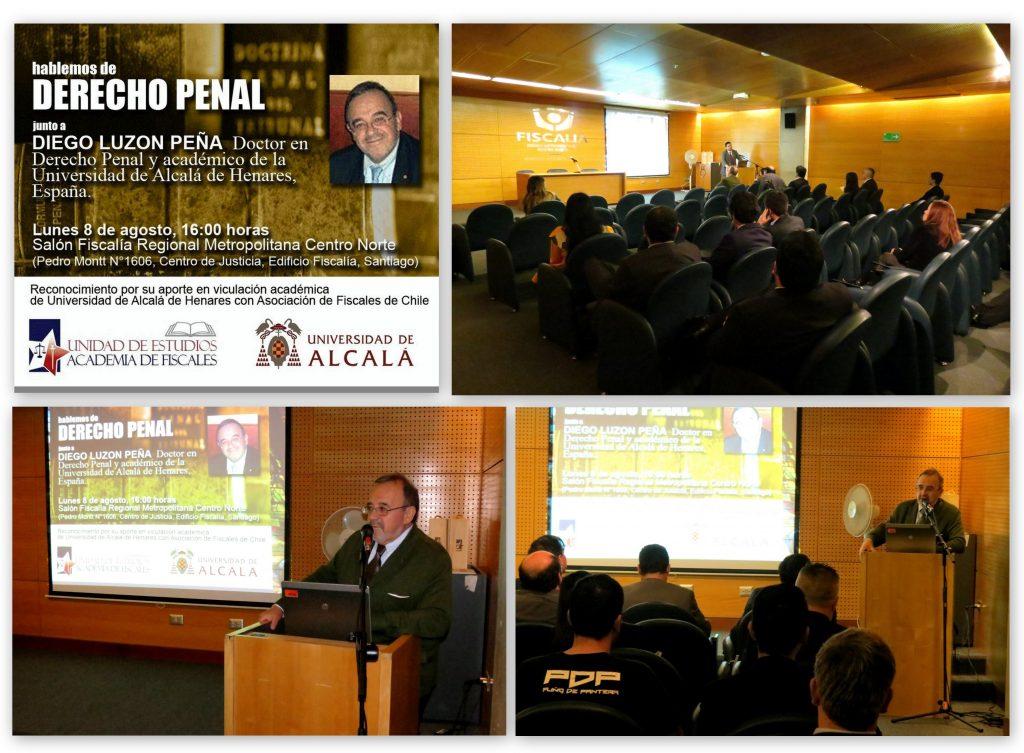 Cartel del evento e imágenes de la presentación del Prof. Dr. Dr. h.c. mult. Luzón Peña por el Prof. Ernesto Vásquez Barriga, Presidente de la Asociación, y de la propia ponencia.