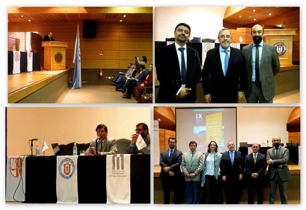 Arriba: el Prof. Dr. Dr. h.c. mult. Luzón Peña durante su conferencia/ponencia inaugural y acompañado por el Prof. Carlos Cabezas (Univ de Antofagasta) y el Dr. Christian Scheechler Corona (Univ. Catól. del Norte, Dir. de las Jornadas). Abajo: el Prof. Dr. Jaime Náquira Riveros durante su conferencia y un momento tras las IX Jornadas: de izq. a dcha., los Profs. Dr. Jonatan Valenzuela Saldías (Univ. de Chile), Dr. J. Náquira, Dra. Mª Magdalena Ossandón (Pontif U. Catól Chile), Prof. Dr. Dr. h.c. mult. Luzón Peña, Prof. Cristian Aguilar (Prof. Titular U.Central de Chile y Fiscal jefe región de Antofagasta) y Dr. Chr. Scheechler.