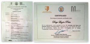 Programa de las IX Jornadas y certificado acreditativo de la conferencia/ponencia inaugural